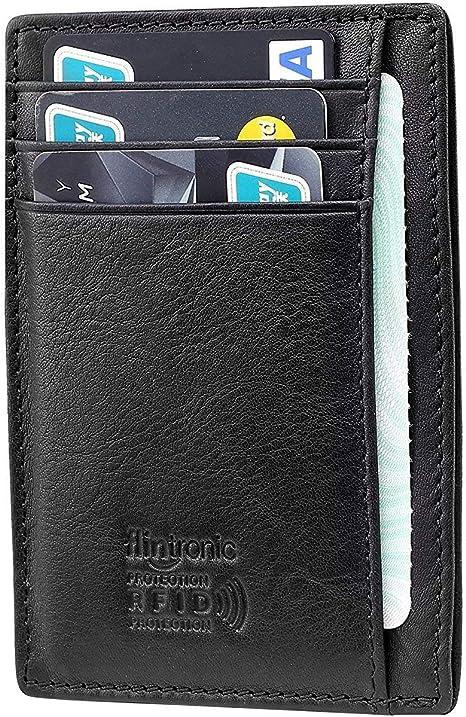 RFID Blocking Genuine Black Leather Card Holder flintronic® Credit Card Wallet