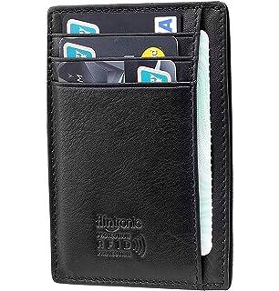 f4a014c1b5b9 flintronic Portefeuille en Cuir, Noir Etui RFID Blocage Porte Carte de  Crédit, Porte-