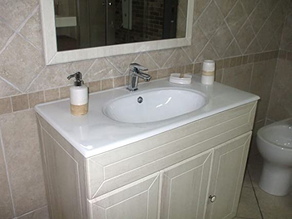 bdd5764e2498 Mobile bagno a terra Ines decapè cm 90 con specchio, applique e lavabo:  Amazon.it: Casa e cucina