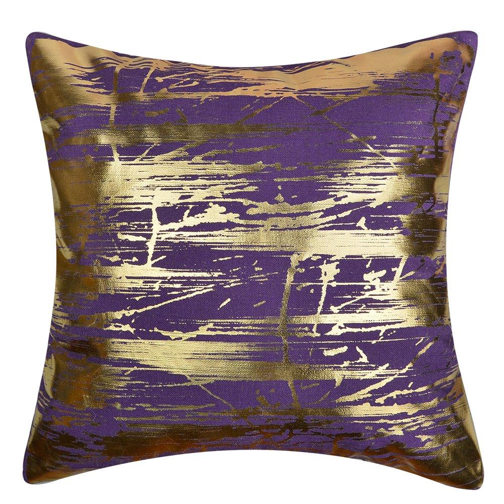 JWH Gold Folie Druck Kissen Leinen Home Sofa Dekorative Quadratisch Überwurf Kopfkissen Bezüge 43,2x 43,2cm Grün-Gold