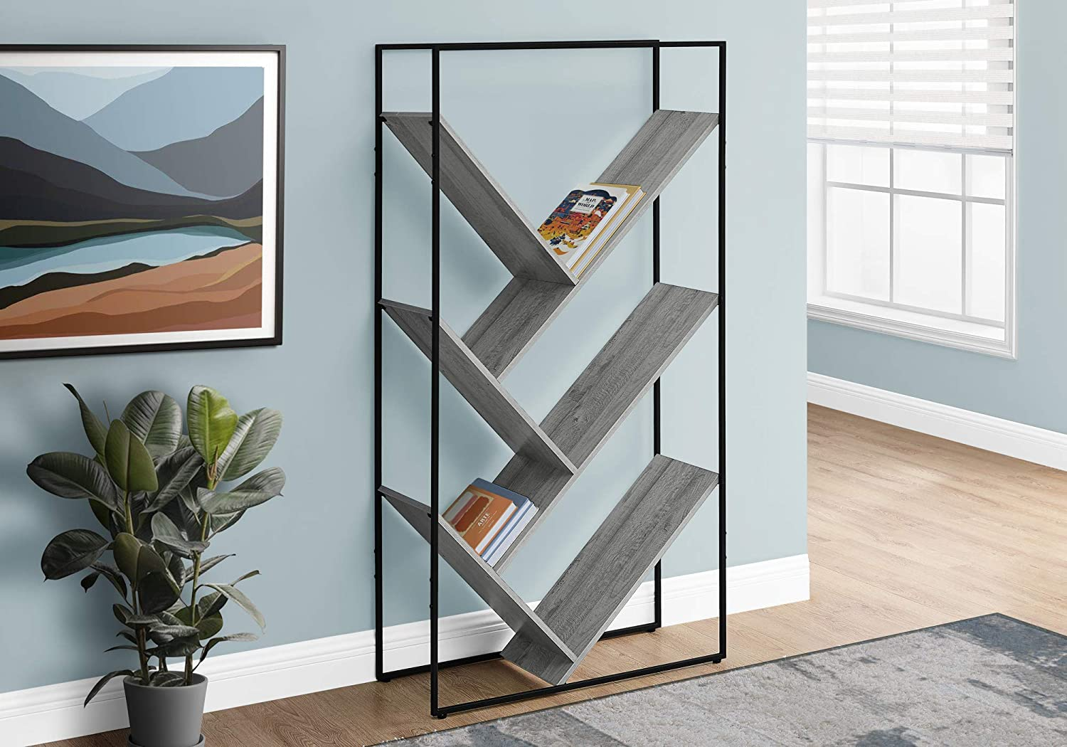 Living Room Furniture Monarch Specialties I 2200 Bookshelf Etagere With 5 Tier Open Shelves V Shaped Storage Grey Narrow Tall For Living Room Office Or Bedroom Bookcase 60 H Home Elektroelement Com Mk
