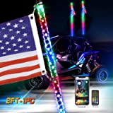 Beatto 2FT(0.6M) LED Whips Light With Dacning/Chasing and Can Controlled by remote and app Simultaneously with Lock…