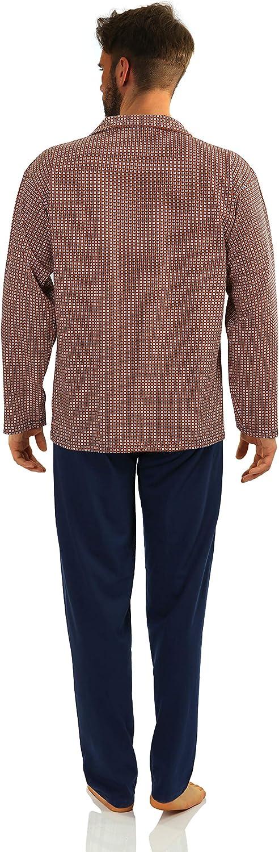 Sesto Senso Herren Pyjama mit Knopfleiste Lang Baumwolle Schlafanzug Kn/öpfen