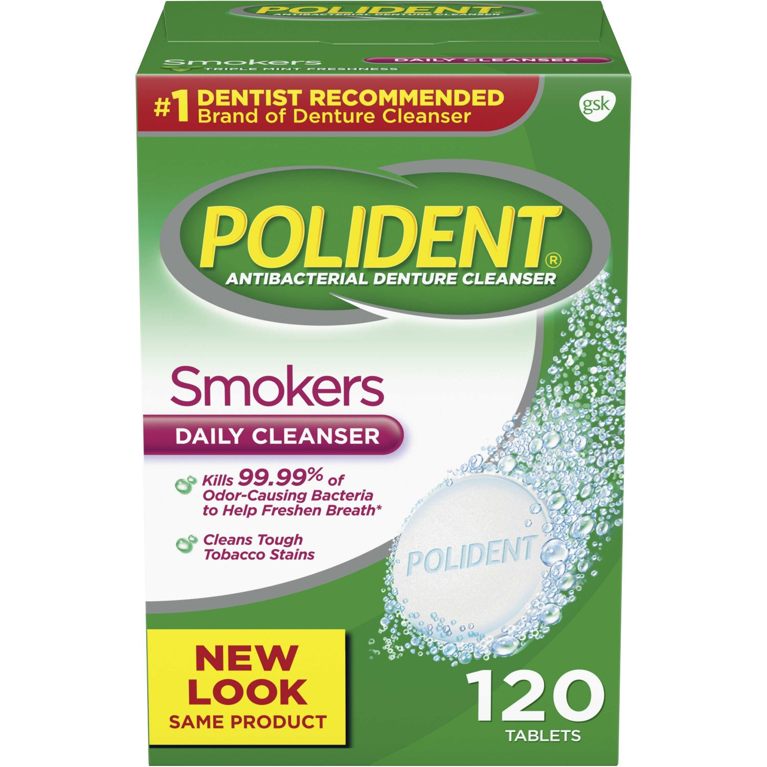 Polident Smokers Antibacterial Denture Cleanser Effervescent Tablets, 120 count GlaxoSmithKline 310158320852