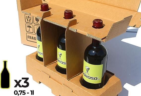 Confezione da 5 scatole da 3 bottiglie Scatole omologate per spedire bottiglie di vino e olio