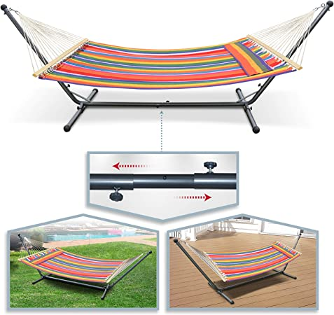 Multi-color 2-Person Double Hammock With Space Saving Steel Stand Backyard 3