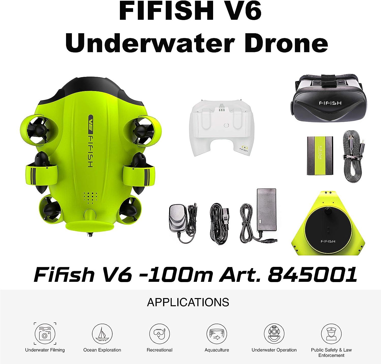 Drone Submarino Cámara Fifish V6 QYSEA Amplio Ángulo 162˚ 6 Direcciones de Movimiento 4K UHD 12 MP
