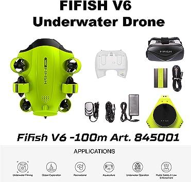 Drone Submarino Cámara Fifish V6 QYSEA Amplio Ángulo 162˚ 6 ...