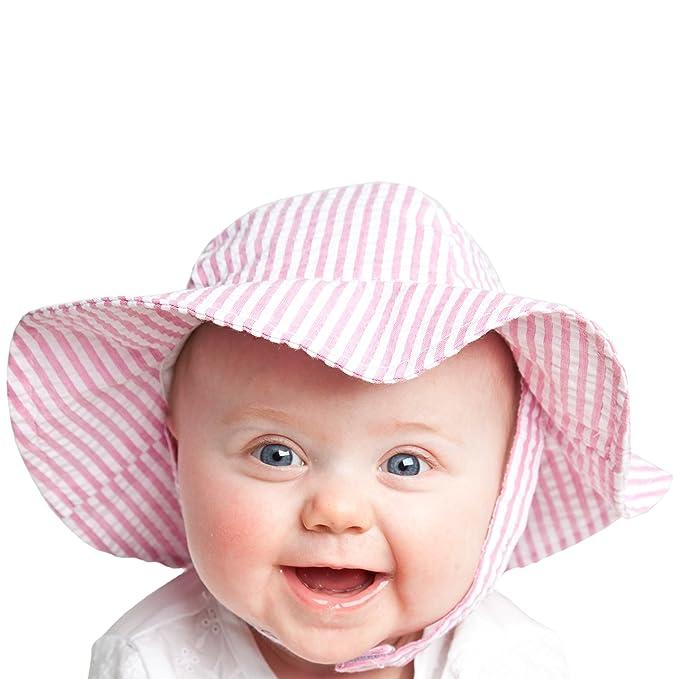 Huggalugs Girls Bright Pink Stripe Seersucker Sunhat UPF 25+ 0-6m