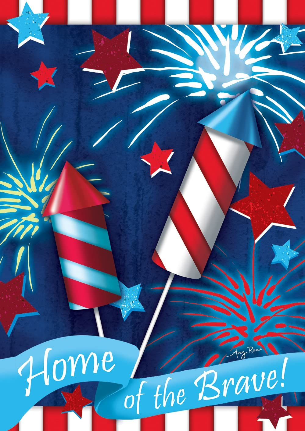 Toland Home Garden Home Of The Brave 12.5 x 18 Inch Decorative Patriotic Summer July 4 Firework USA Garden Flag