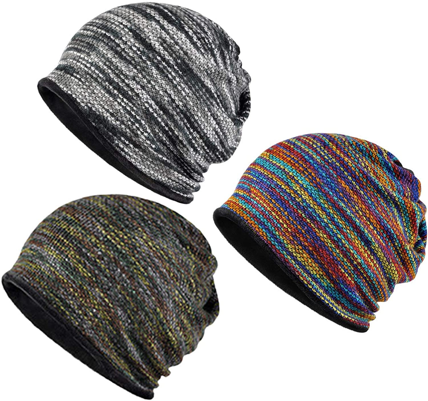 Yuzemumu Colorful Beanies Cancer Headwear Skull Cap Knitted hat Scarf for Womens Mens