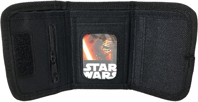 "New Disney Star Wars /""The Force Awaken/"" Kylos Tri Fold Wallet Black"