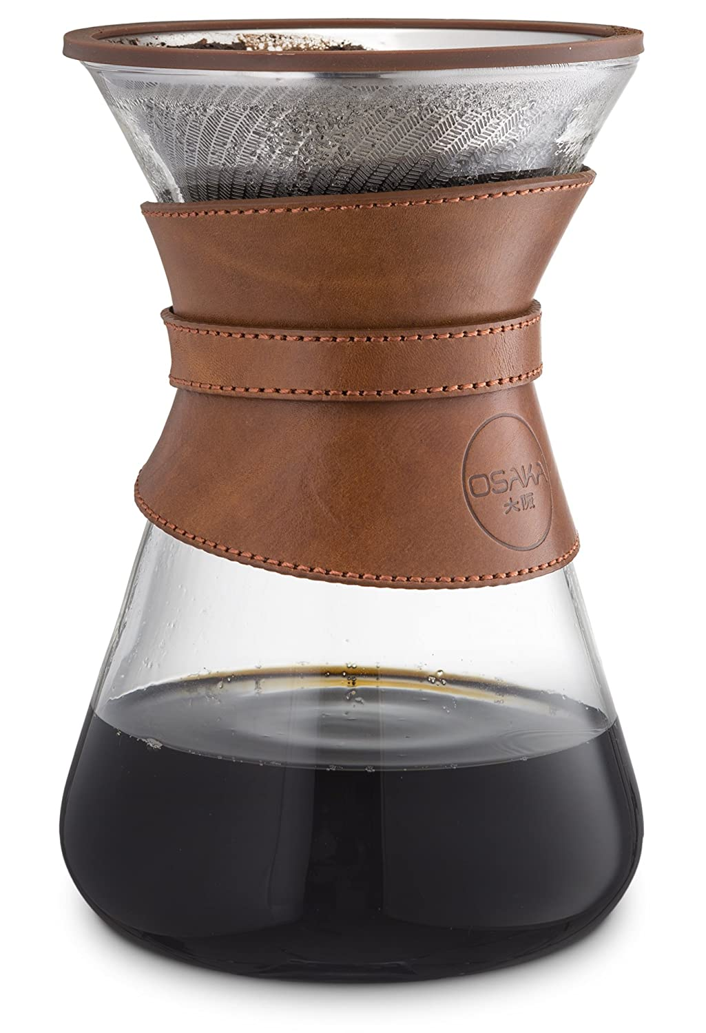 Premium Pour-Over Coffee Maker - Glass Carafe With Genuine Leather Collar and Double Mesh Stainless Steel Filter with Unique Flow Design