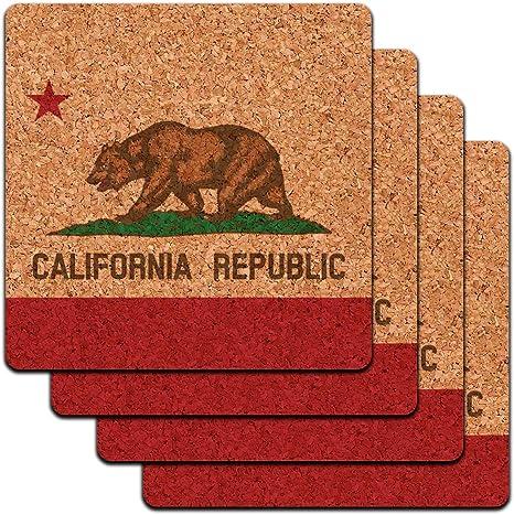 California Republic State Flag Low Profile Cork Coaster Set Coasters