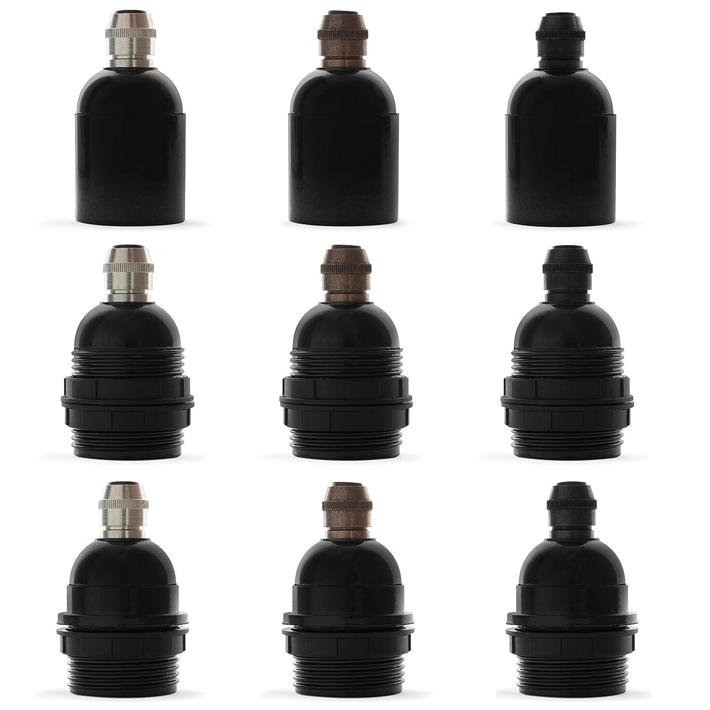 Gewindemantel Retro Lampenfassung schwarz mit Klemmnippel aus Messing Old English Premium Bakelit Fassung E27