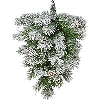 Northlight 22″ Snowy Flocked and Pine Cones Christmas Teardrop Swag - Unlit