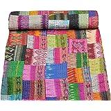 MOGI Garvanshi Fabrics Patola Silk Twin Size Saree Kantha Blanket (Multicolour, 60x90-inch)