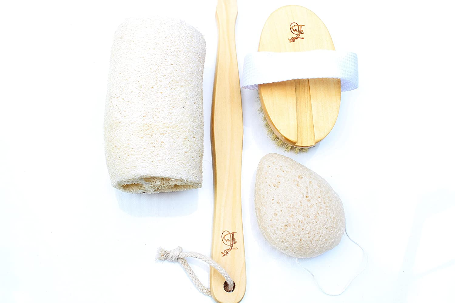 Natural Boar Bristle Body Dry Brush and Facial Exfoliating Set with Konjac & Loofah, Premium Dry Brushing Body Brush for Complete Skin Exfoliation by Ive Beauty Collection (White) i-101