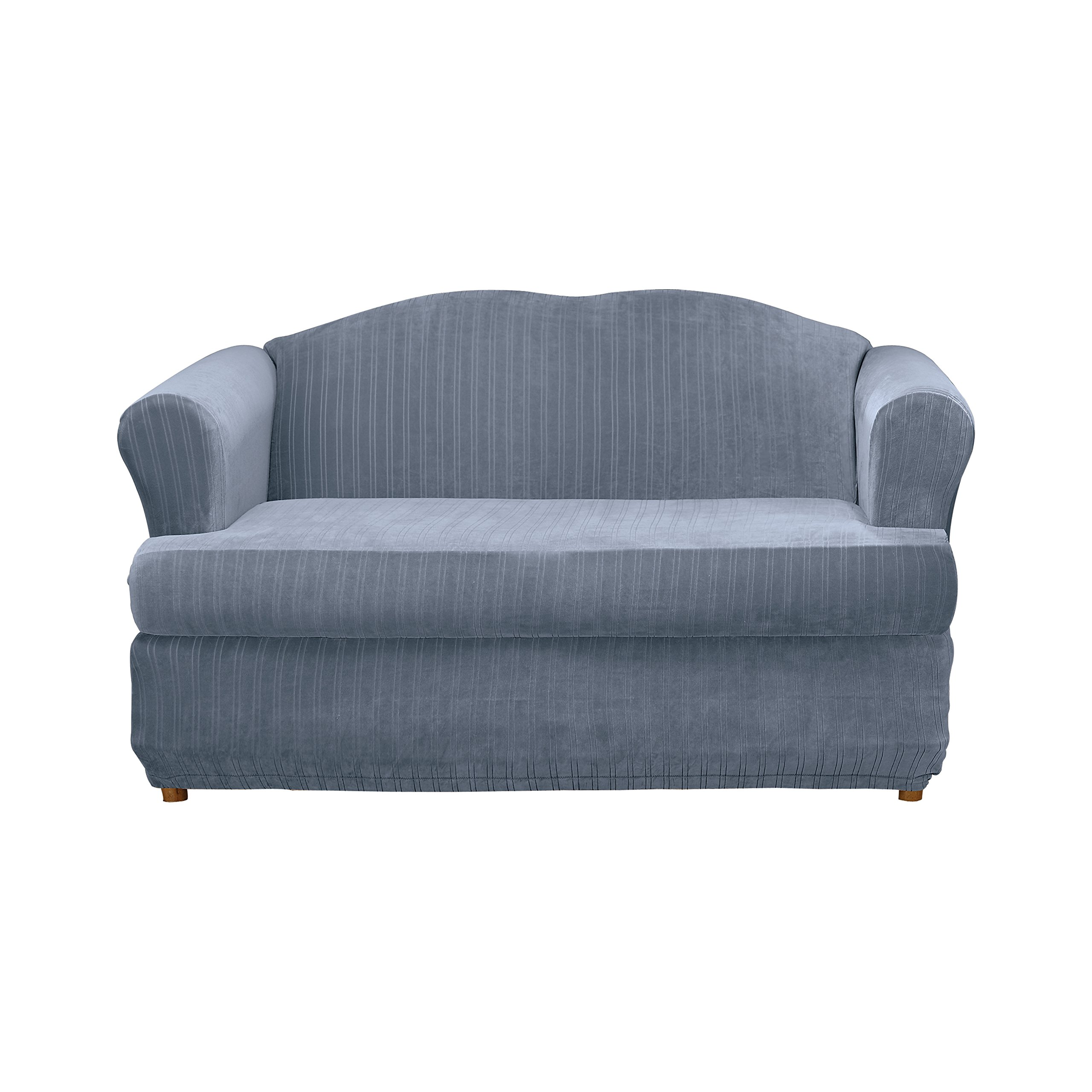 Sure Fit Stretch Pinstripe 2-Piece - Sofa Slipcover  - French Blue (SF35829)