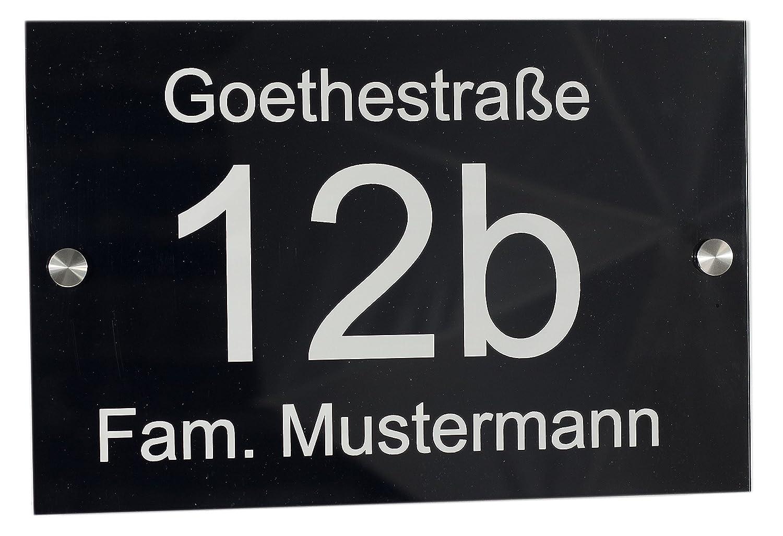 Feiner-Tropfen Hausnummernschild Hausnummer 190 x 290mm gro/ß schwarz Acrylglas Laser Gravur