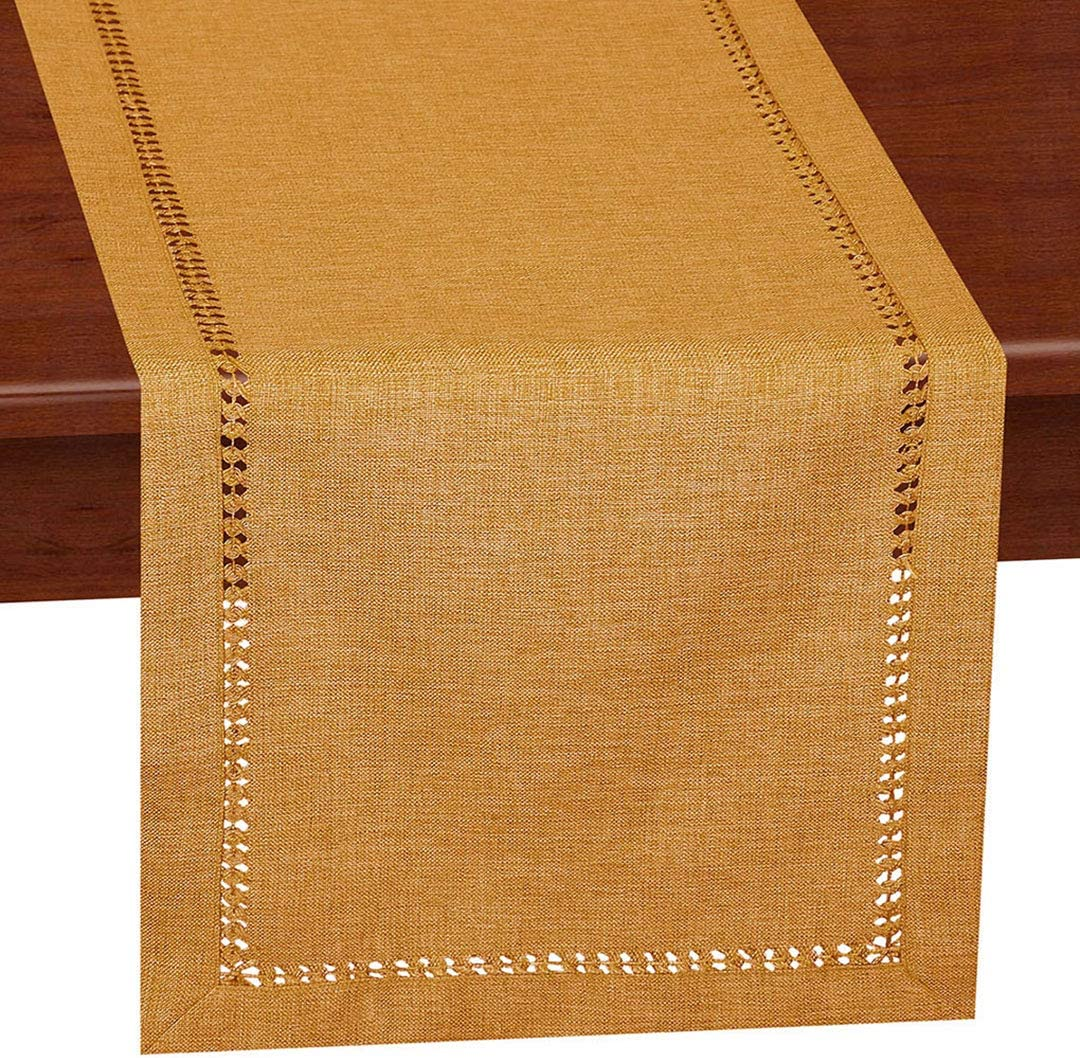 Grelucgo Handcrafted Solid Color Dining Table Runner, Dresser Scarf, Double-Hemstitched (Mustard Gold, 14 x 48)