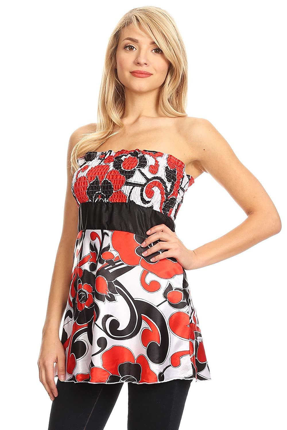 Shes Cool Strapless Geometric Print Long Body Top