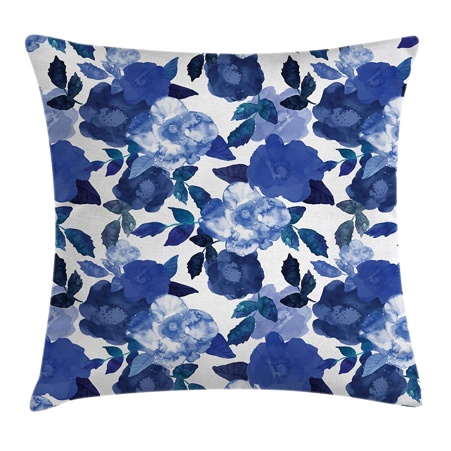 Ambesonne Flower Throw Pillow Cushion Cover by, Lively Watercolor Painted Simplistic Large Flowers and Leaves Vivid Spring, Decorative Square Accent Pillow Case, 18 X 18 Inches, White Royal Blue