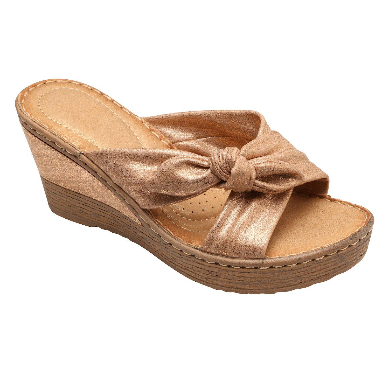 Gc Shoes Woman's Sandals - Metallic Look Faux-Tie Upper, 1 1/2