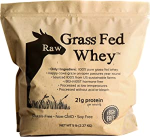 Raw Grass Fed Whey 5LB - Happy Healthy Cows, COLD PROCESSED Undenatured 100% Grass Fed Whey Protein Powder, GMO-Free + rBGH Free + Soy Free + Gluten Free, Unflavored, Unsweetened (5 LB BULK, 90 Serve)