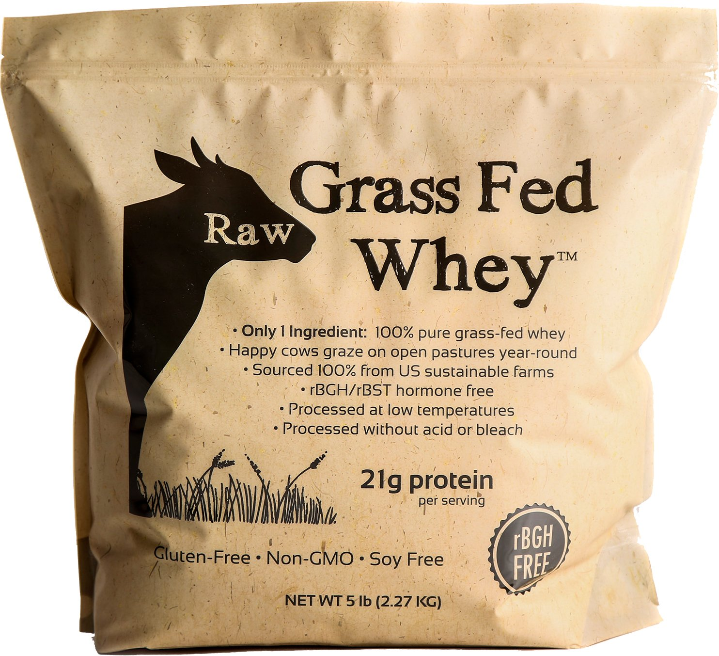 Raw Grass Fed Whey 5LB - Happy Healthy Cows, COLD PROCESSED Undenatured 100% Grass Fed Whey Protein Powder, GMO-Free + rBGH Free + Soy Free + Gluten Free, Unflavored, Unsweetened (5 LB BULK, 90 Serve) by Raw Organic Whey