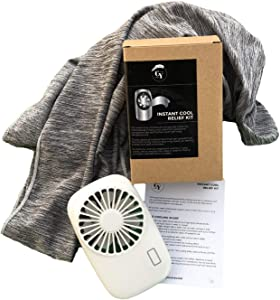 Cool You Menopause Hot Flash Relief Kit Combo Includes Cooling Scarf & Mini Quiet Fan - Discreet & Reusable Menopause Gift