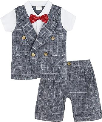 A&J Design Bebé Niño Gentilhombre Camisa a Cuadros y Pantalones ...