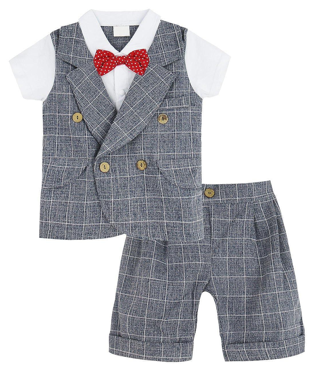 A& J Design Bebé Niño Gentilhombre Camisa a Cuadros y Pantalones Conjunto