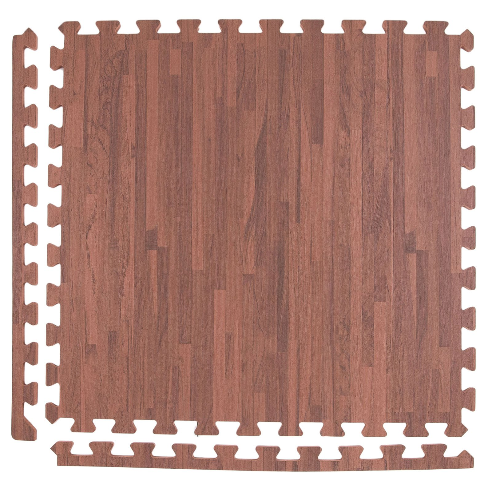 IncStores Soft Wood Foam Tiles (6 Tiles, Textured Mocha) 2ft x 2ft Interlocking Floor Tiles with Edges