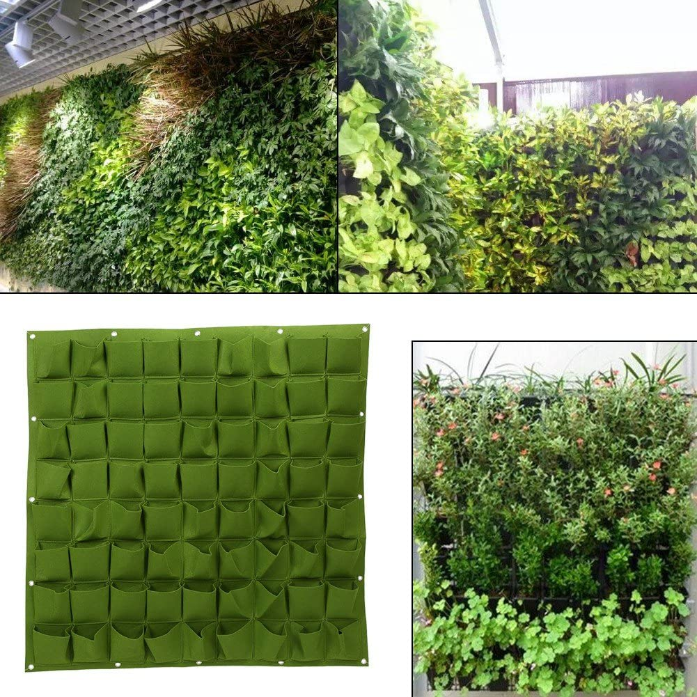 72 Pocket Vertical Wall Garden Planter,Wall Hanging Planting Bags for Garden Indoor Outdoor (Green)