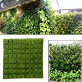 Yinuoday 72 Pocket Vertical Wall Garden Planter,Wall Hanging Planting Bags for Garden Indoor Outdoor (Green)