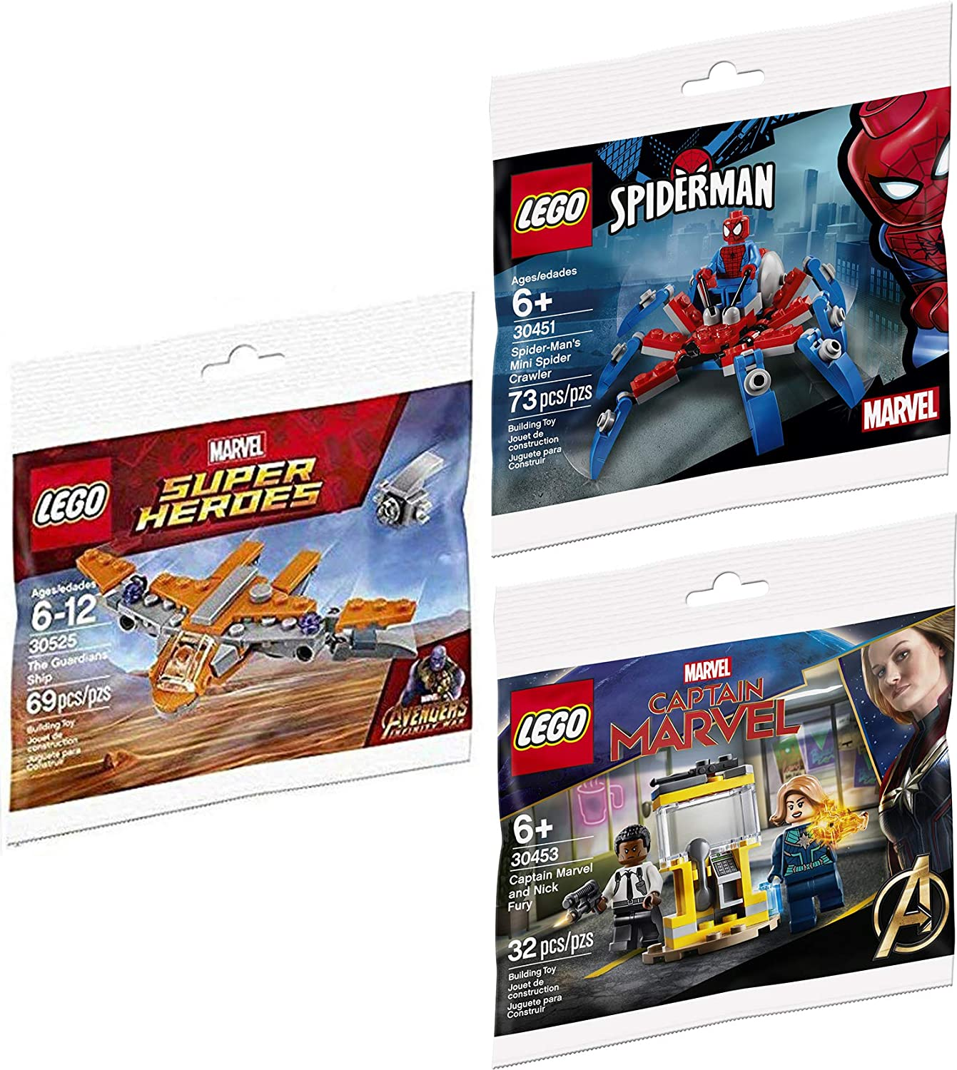 LEGO Blast Team up Hero Ship Avengers Brick Set Bundled with + Super Infinity Wars Ship Galaxy Polybag 30452: Captain Marvel & Nick Fury 30453 + Spider-Man 30451 Crawler 3 Items Mini Sets