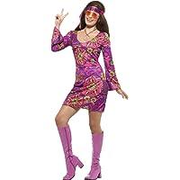 SMIFFYS Smiffy's-Costume da donna, con motivo a pulcino Hippie Woodstock, stile anni '60, Donna, taglia: XS