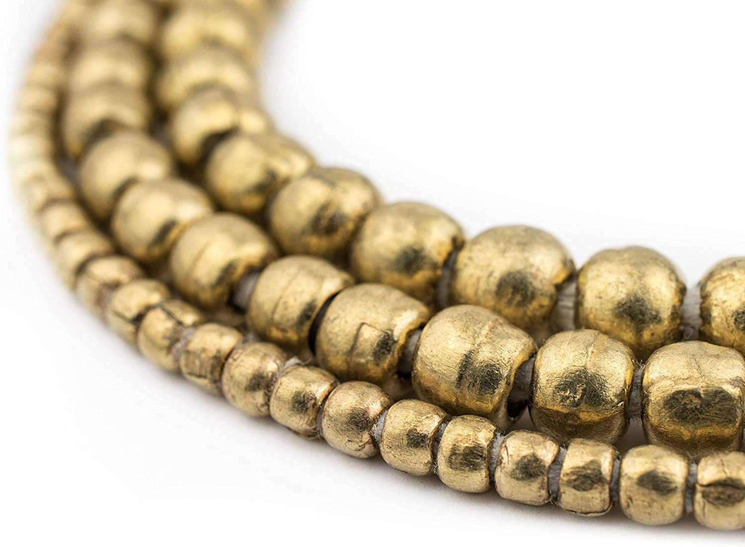Round White Metal Ethiopian Beads 6mm African Silver Large Hole 32 Inch Strand