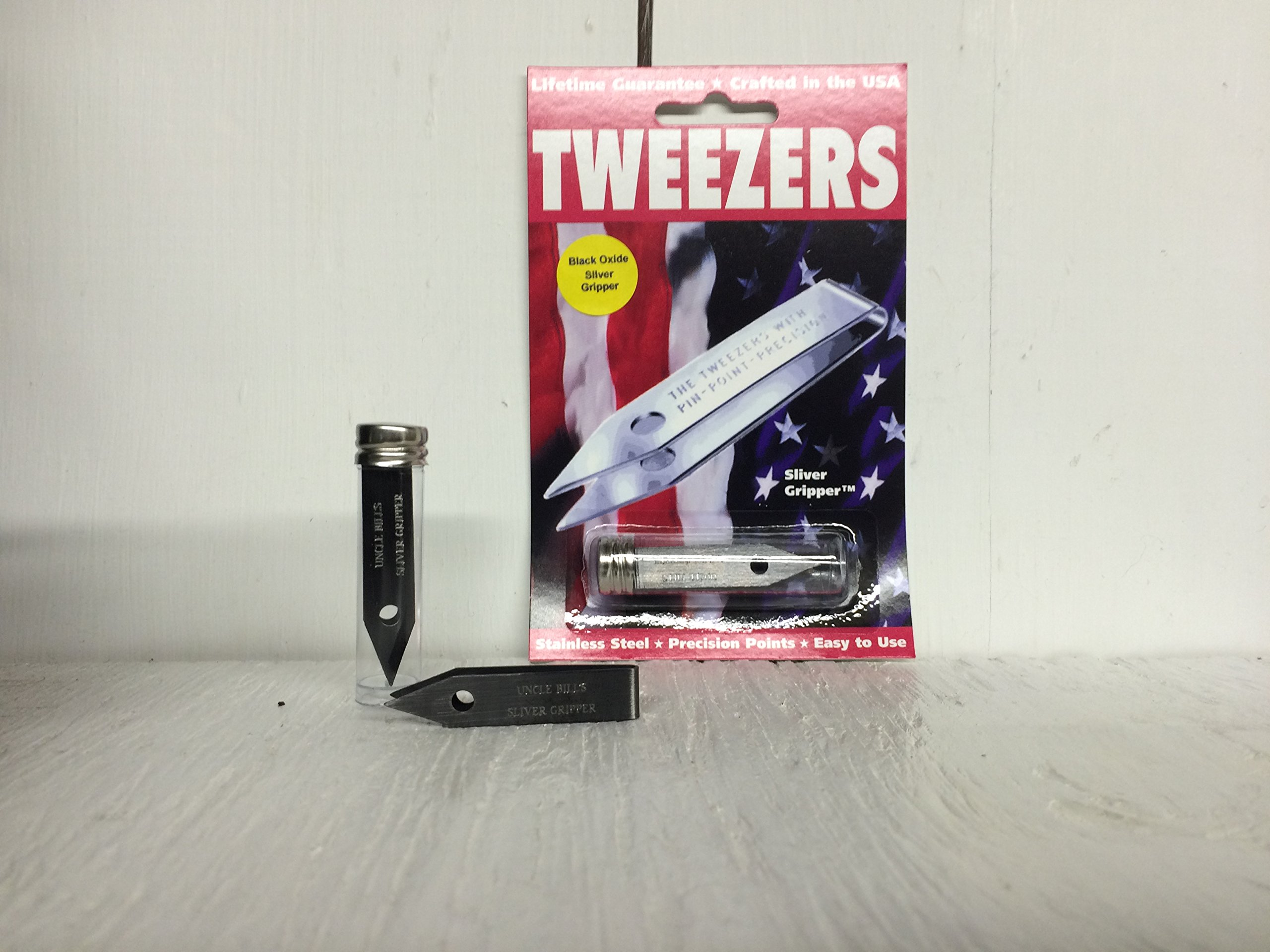 Sliver Gripper Black Oxide Uncle Bill's Tweezers in a Recloseable Tube