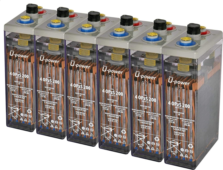 Master U-Power Batería Solar, 4 OPZS 200 12V Mas de 20 años de Vida, Gris