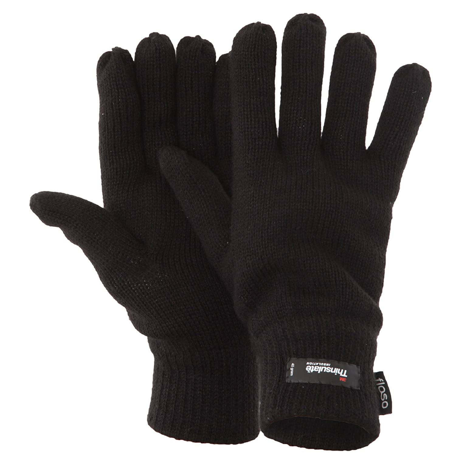 One Size Black 3M 40g FLOSO Mens Thermal Thinsulate Knitted Winter Gloves