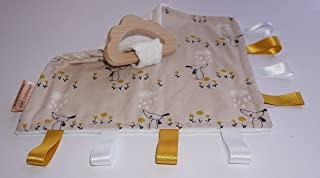 Teething baby blanket comforter - Dog and Cloud - organic wooden teething cloud - CE certified from birth