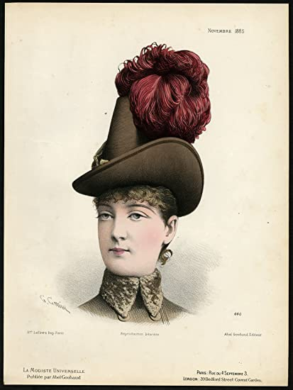 Amazon.com  Antique Fashion Print-440-MILLINERY-19TH CENTURY-HAT ... c61d3567e48