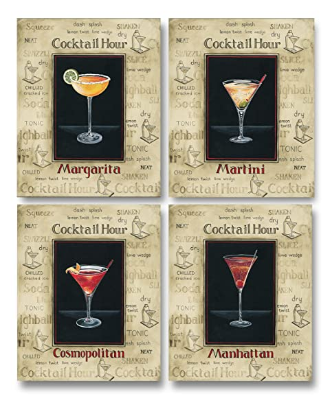 amazon com vintage cocktail hour signs manhattan margarita