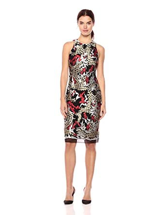 3b5053706f294 Nicole Miller New York Women's Embroidery Cocktail Dress, Black/Gold/Red,  ...