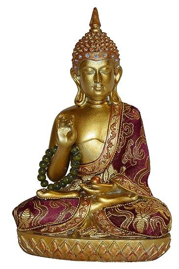 sitzende thailändischer Buddha Stoff Kleidung 22cm Schwartz Gold Rot ...