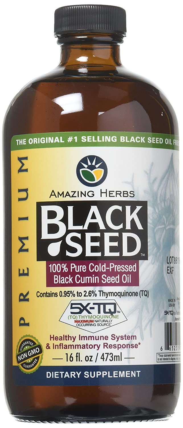 Amazing Herbs Premium Black Seed Oil, 16 Fluid Ounce 12016