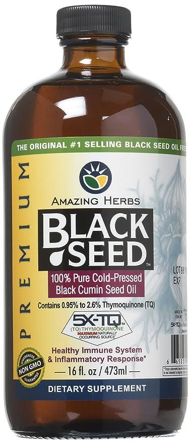 Aceite Amazing Herbs de semillas negras, 473 ml.