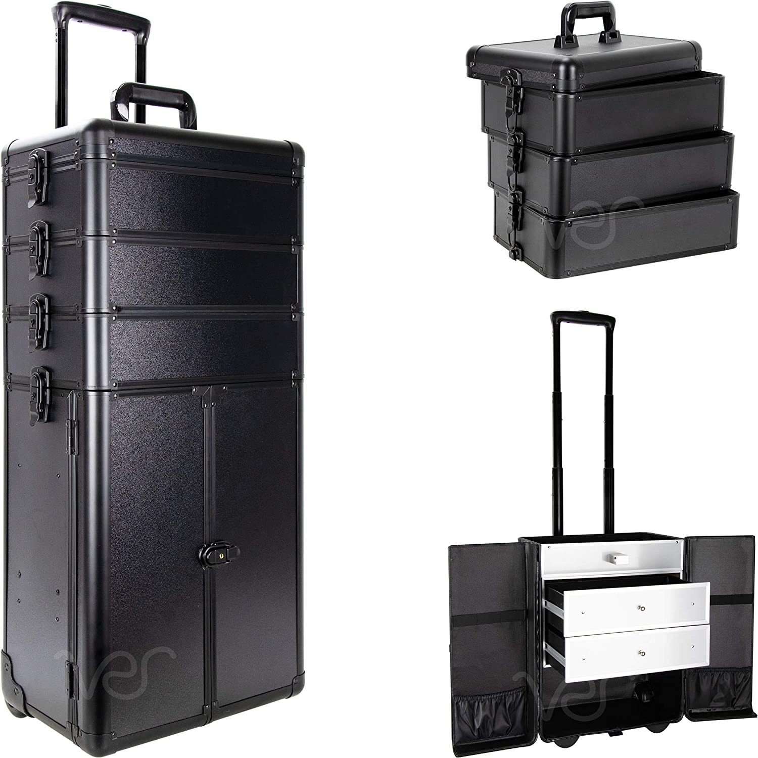 SUNRISE Makeup Rolling Case I3366 4 in 1 Professional Organizer, 3 Stackable Trays and 2 Drawers, Locking with Mirror, Black Matte
